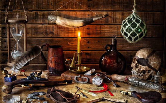 Обои Натюрморт, свеча, пламя, череп