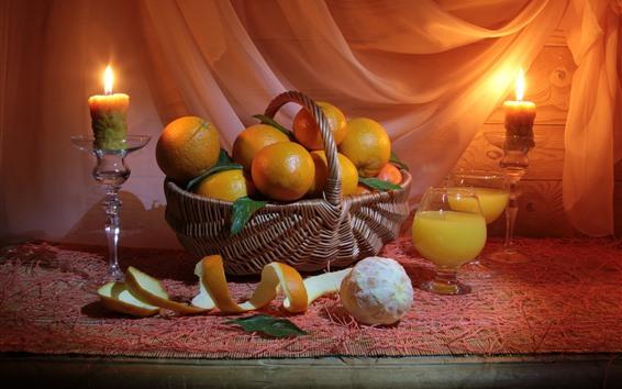 壁紙 静物、果物、オレンジ、キャンドル、火