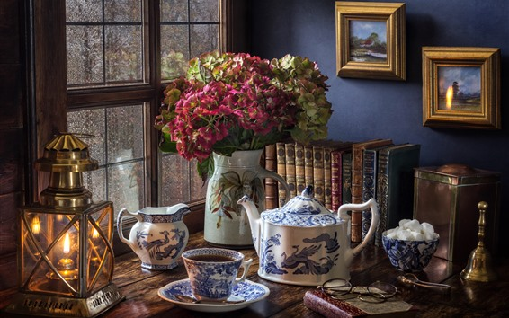 壁紙 静物、あじさい、窓、やかん、お茶、本、ランプ