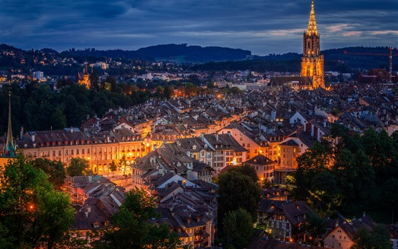Fondos de pantalla Suiza, Berna, ciudad de noche, casas, luces.