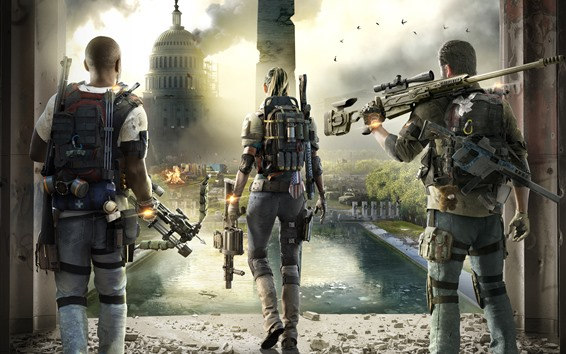 Wallpaper The Division 2, city, soldiers, PC game