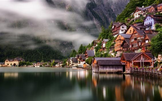 Обои Путешествие в Гальштат, Австрия, озеро, дома, туман, утро