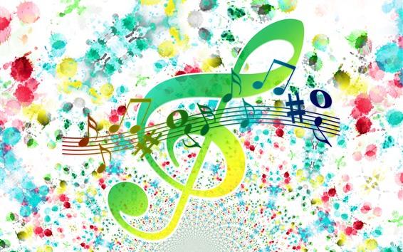 Обои Тройной ключ, ноты, красочные, творческие картины