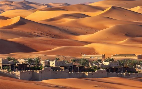 Обои ОАЭ, Абу-Даби, дома, пустыня