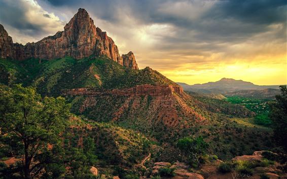 배경 화면 미국, 시온 국립 공원, 산, 구름, 황혼