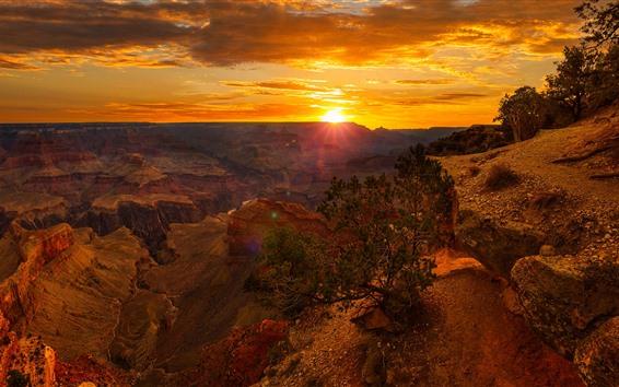 Wallpaper USA, canyon, rocks, clouds, sunset