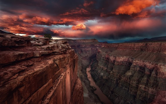Обои США, Каньон, долина, река, закат