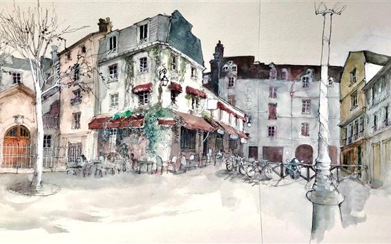 Papéis de Parede Pintura da aguarela, cidade, casas, árvores