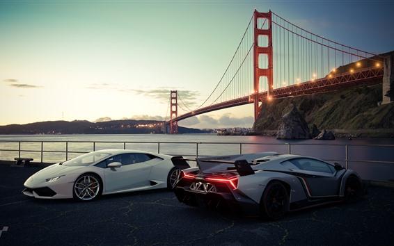 Обои Белые и серебряные роскошные спортивные автомобили Lamborghini, Сан-Франциско, мост, США