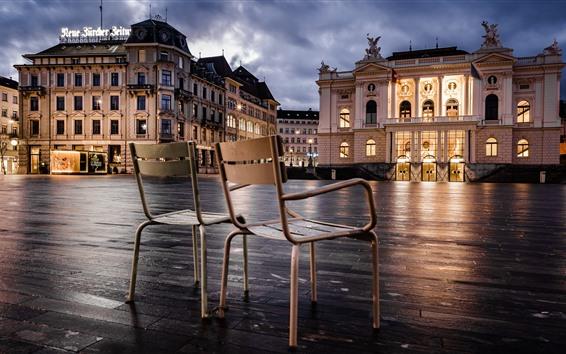 Papéis de Parede Zurique, Suíça, cadeiras, luzes, cidade, edifícios