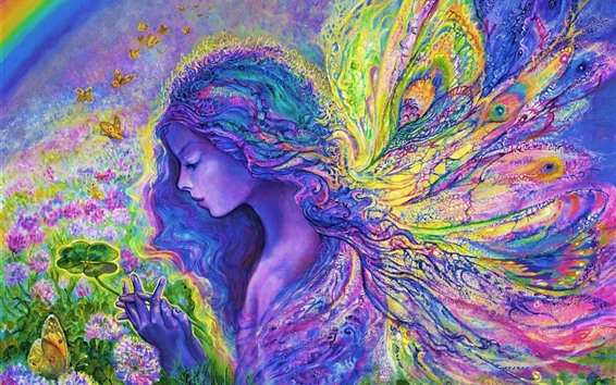 Wallpaper Art painting, colorful, butterfly angel girl
