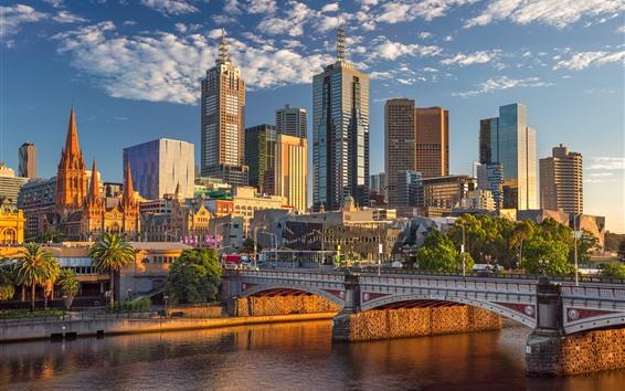 Papéis de Parede Austrália, melbourne, arranha-céus, cidade, ponte, rio, sol