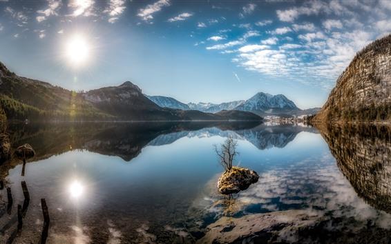 Papéis de Parede Áustria, Altaussee, lago da Estíria, montanhas, luz do sol, céu azul