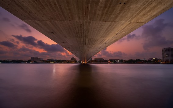 Wallpaper Bangkok, bridge bottom view, river, night, city