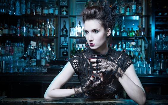 Wallpaper Bar, fashion girl, wine, lace