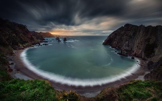 Обои Пляж, залив, море, облака, закат