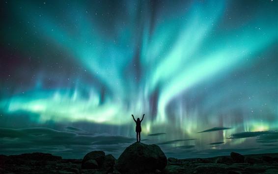 Wallpaper Beautiful northern lights, night, sky, girl, starry