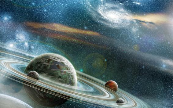 Fondos de pantalla Hermoso espacio, planetas, estrellas, galaxia.
