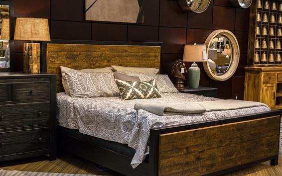 Fond d'écran Chambre à coucher, lit, oreiller, lampes