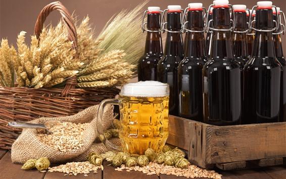Papéis de Parede Cerveja, espuma, trigo, lúpulo, garrafas