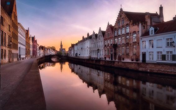 壁紙 ベルギー、ブルージュ、川、市、住宅、夕暮れ