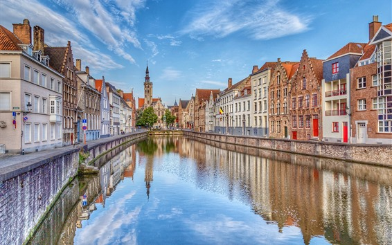 Wallpaper Belgium, Bruges, street, houses, river, city