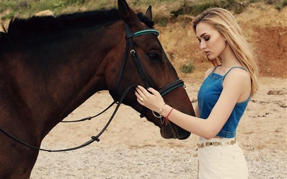 Wallpaper Blonde girl and brown horse, summer