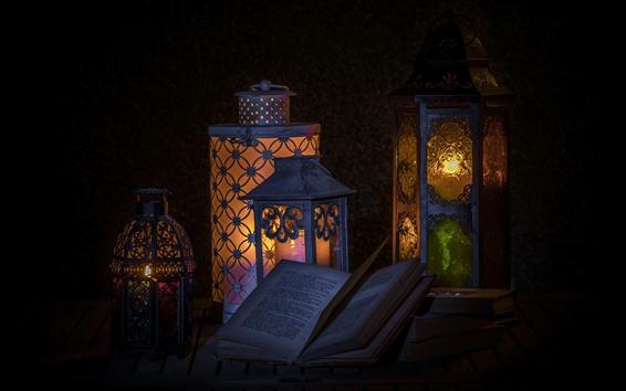 Wallpaper Book, lamp, darkness, still life