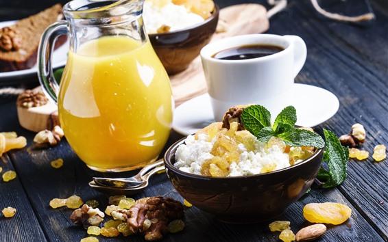 壁纸 早餐,橙汁,咖啡,食物,坚果