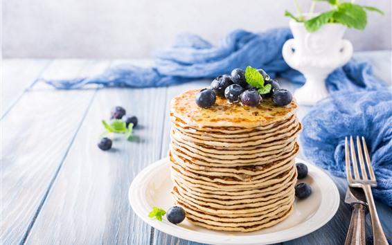 배경 화면 아침 식사, 팬케이크, 꿀, 블루 베리