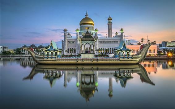 Wallpaper Brunei, Royal mosque, river, boat