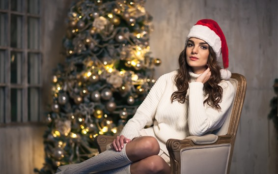 Wallpaper Christmas girl, sweater, hat