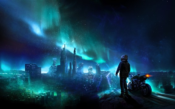 Wallpaper City night, skyscrapers, northern lights, stars, motorcycle, person, creative picture