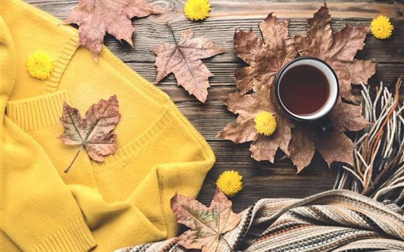 Wallpaper Coffee, maple foliage, sweater, scarf