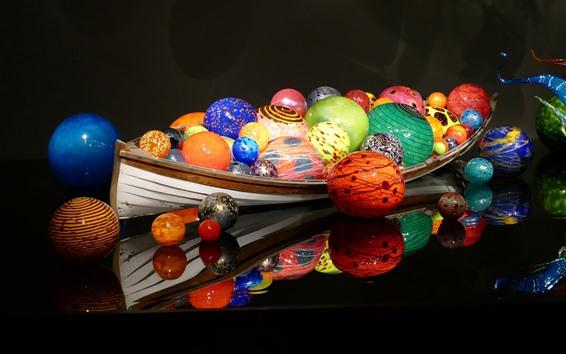 Обои Красочные шары, лодка, 3D дизайн