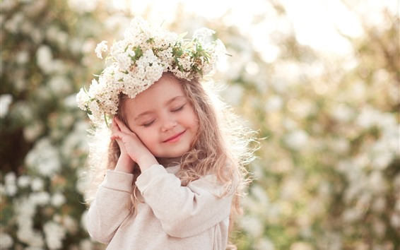 Papéis de Parede Menina bonitinha, criança, pose, sorriso, grinalda, brilho