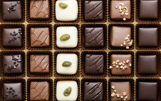 Wallpaper Different kinds of chocolate candy, sweet food