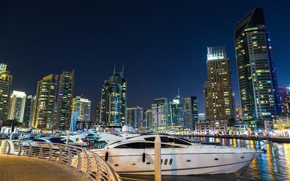 Обои Дубай, яхты, небоскребы, город, ночь