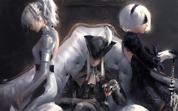 Fondos de pantalla Arte de fantasía, tres chicas, espada, sofá.