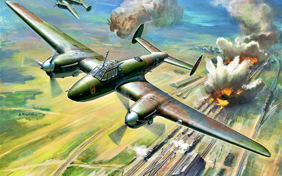 Papéis de Parede Lutador, guerra, bombardeio, ferrovia, arte
