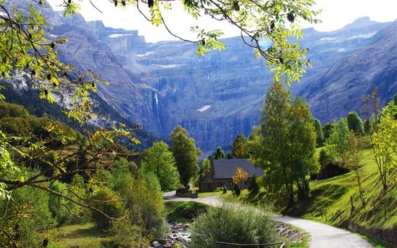 壁紙 フランス、村、木、山、道、家
