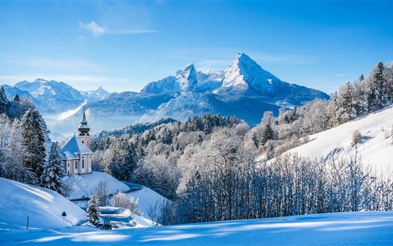 Papéis de Parede Alemanha, bayern, igreja, árvores, montanhas, neve, inverno