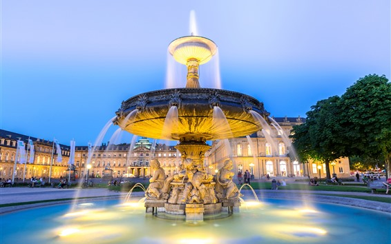 Wallpaper Germany, city, night, fountain, lights, water