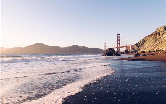 Fond d'écran Golden Gate Bridge, mer, vagues, côte, San Francisco, États-Unis