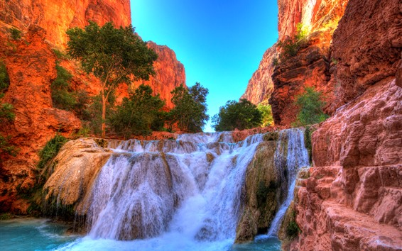 Обои Национальный парк Гранд-Каньон, скалы, водопад, США