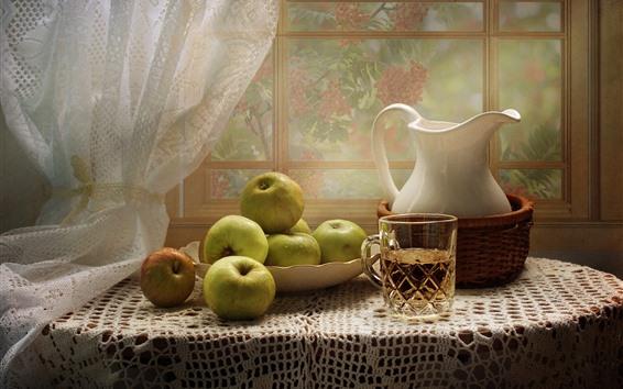Papéis de Parede Maçãs verdes, copo, chaleira, janela, mesa