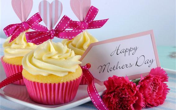 壁紙 幸せな母の日、カップケーキ、カーネーション