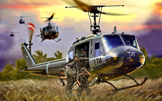 Fondos de pantalla Helicóptero, aterrizaje, soldados, imagen artística.