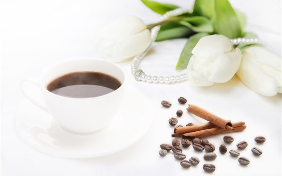 Wallpaper Hot coffee, steam, white tulips, beads, white background