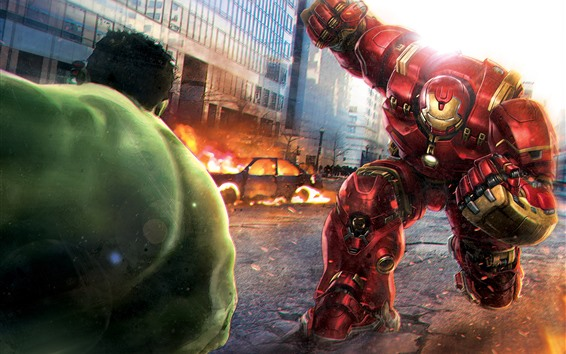 Wallpaper Hulkbuster and Hulk, battle